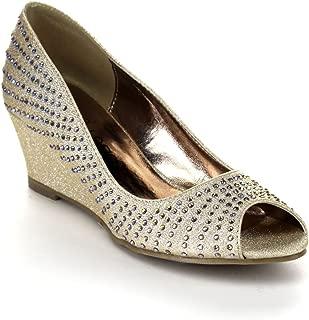 Nicki-24 Women's Glitter Peep Toe Slip On Wedge Pumps
