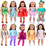 ZITA ELEMENT 24 Pcs American 18 Inch Girl Doll Clothes Dress and Accessories - Including 10 Complete Set of Clothing Outfits with Hair Bands, Hair Clips, Crown and Cap