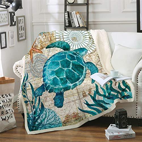 Wohndecken Kuscheldecken Ozean Meer Fleecedecke Sofadecke Tagesdecke Schlafdecke Reisedecke Kuschelige Decke für Kinder & Erwachsene Schildkröte 150x200cm