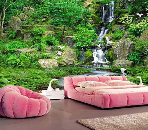 Ptcta Fondo de pantalla no tejido para TV Fondo Montañas verdes, agua verde y estéreo verde (HD garantizado) para sala de estar/dormitorio