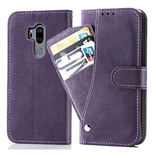 Asuwish LG G7/G7 ThinQ Wallet Case,Luxury Leather Phone Cases with Credit Card Holder Slim Kickstand Stand Flip Folio Cover for Lgg7 G 7 Plus LG7 Fit LG7ThinQ 7G Thin Q G7+ G7thinq Lgg7thinq Purple