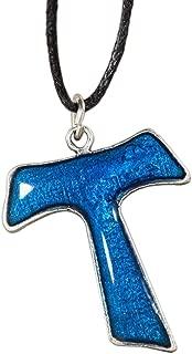 Eurofusioni Silver Plated Pendant Blue Tau cross
