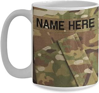 U.S. Army (USA) Sergeant First Class (SFC) E7 Coffee Cup - Personalized - White 15oz – OCP Army Combat Uniform Pattern - Military Ceramic Mug - Customize with Name