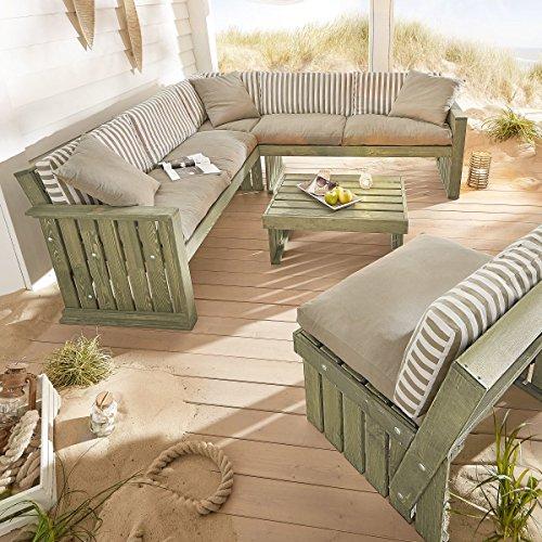 Pureday miaVILLA Garten Sitzgruppe Lenja 3-teilig - Outdoor Loungemöbel - Holz