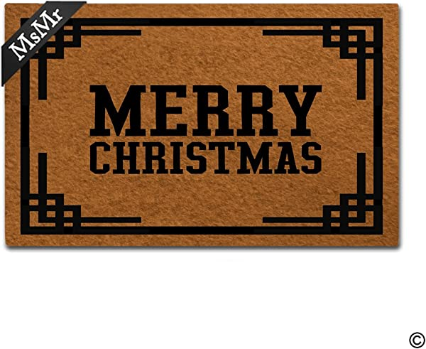 MsMr Doormat Entrance Floor Mat Merry Christmas Designed Indoor Outdoor Decorative Mat Bathroom Kitchen Door Mat 30 X18