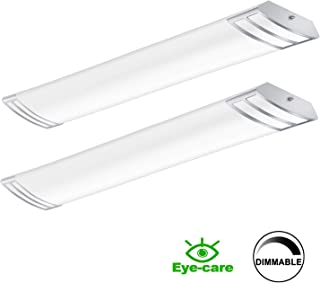 4FT LED Wraparound 50W 5600lm Linear Light Fixture Flush Mount, 4000K, 1-10V Dimmable, 4 Foot LED Kitchen Lighting Fixtures Ceiling for Craft Room, Laundry, Fluorescent Replacement,2 Pack