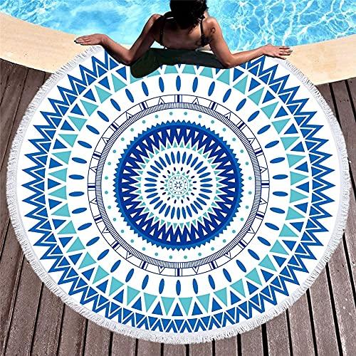 YUANCHENG Toalla de Playa Redonda de Microfibra Mandala Impresa en 3D para Adultos Summer Toalla Tassel Yoga Mat