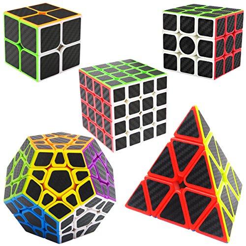 LSMY Speed Cubes 2x2x2 + 3x3x3 + 4x4x4 + Pyraminx + Megaminx, 5 Pack Puzzle Magic Cubo Carbon Fiber Sticker Toy