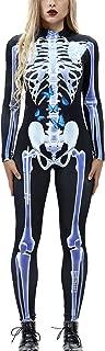 Women Halloween Cosplay Costume Funny Skeleton Bodysuit Long Sleeve Skinny Catsuit Jumpsuit