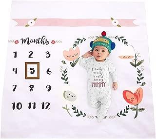 Newborn Baby Unicorn Milestone Blanket Photography Background Prop Monthly Growth Photo Bedding Wrap Swaddle Stroller Mat (Unicorn) (Multi)