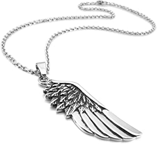 Men's Stainless Steel Pendant Necklace Silver Tone Feather Angel Wing -with 23 Inch Chain