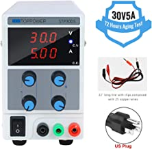 DC Power Supply Variable Switching Regulated 3-Digital 30V/5A Power Supply Single-Output 110V/220V, with Alligator Leads, US Power Cord