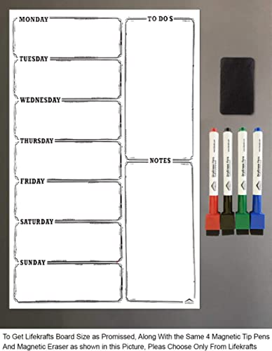 Lifekrafts Magnetic White Board Sheet PAD Dry, Erase for Notes with 3 Pen product image