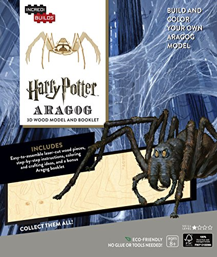 Harry Potter Aragog Book and 3D Wood Model Figure Kit - Build, Paint and Collect Your Own Wooden Toy Model - Great for Kids and Adults, 8+