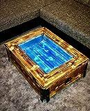 Couchtisch Holz geflammt Industrie Design Vintage mit LED