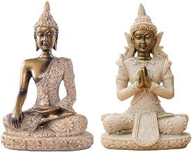 Prettyia 2pcs Cottage Sandstone Meditation Buddha Statue Marble Sculpture Handmade