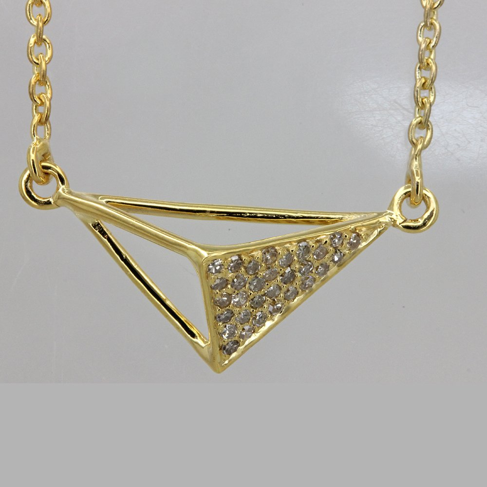 Natural Diamond Pave 100% quality warranty! TRIANGLE Today's only Pendant Necklace Chain Yellow 18k