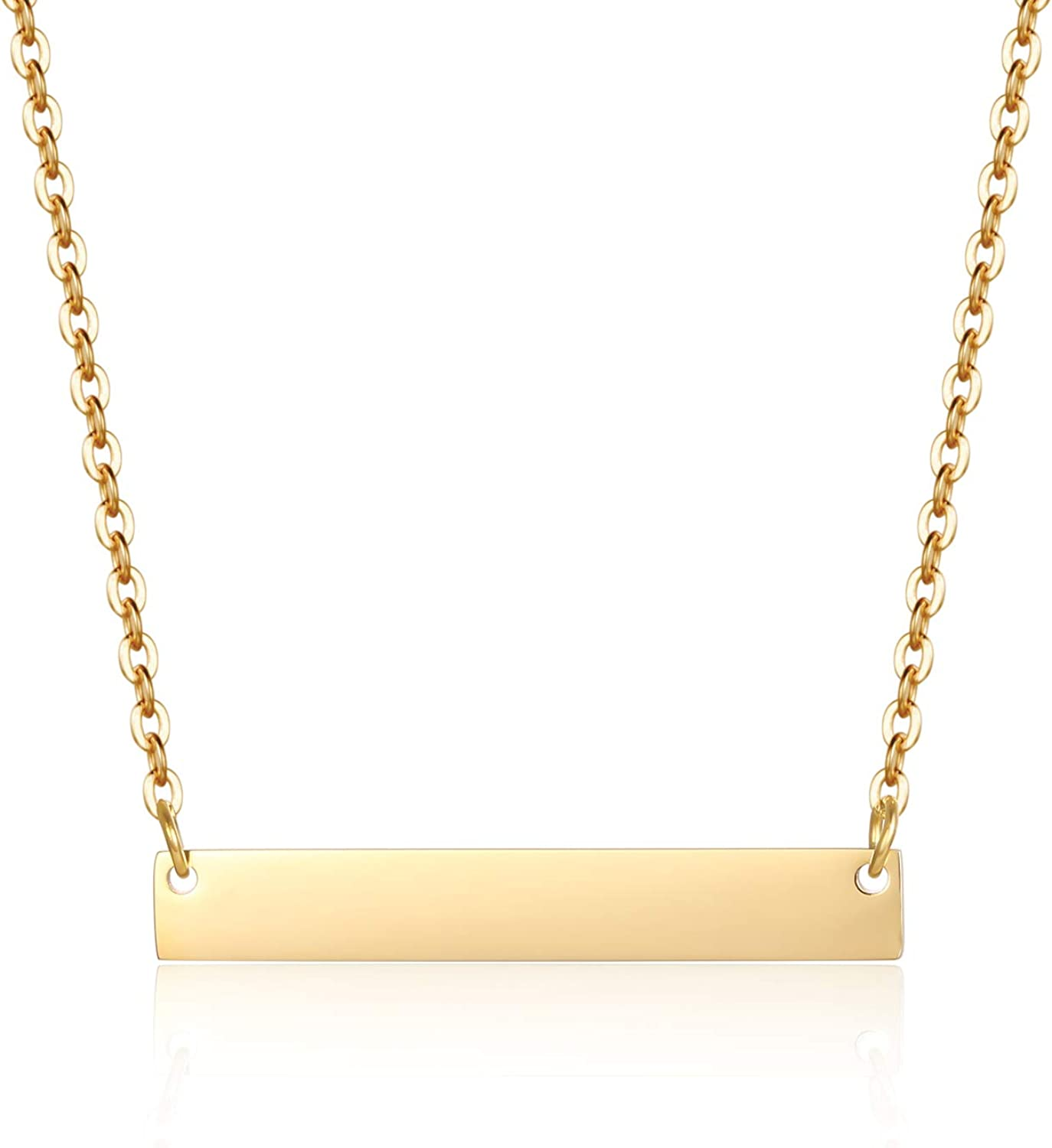 Gold Sales for sale Bar Necklace Stainless Steel Adjustable w Chain Max 67% OFF Plated
