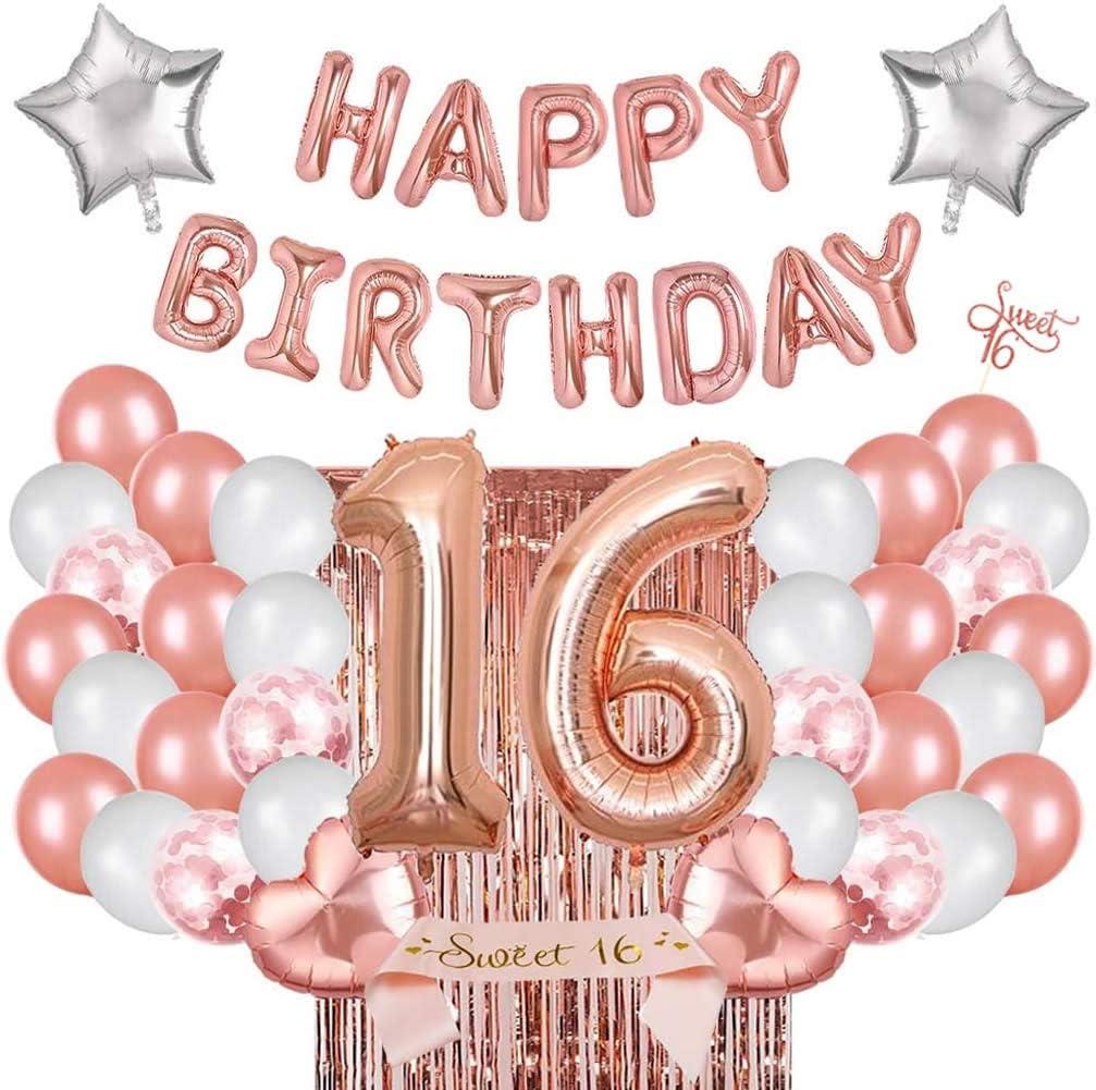 Gold Confetti Balloons Birthday Decorations Sweet 16 Decorations Gold and Pink Balloons- Fabulous Birthday Balloon