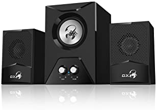 Genius Gaming Speaker SW-G2.1 500-2.1 Channel Wooden Subwoofer Speaker with Deep Bass/RMS 15 Watts/Crystal Clear Soun...
