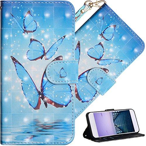 COTDINFOR Motorola Moto E4 Hülle Geschenk Lederhülle 3D-Effekt Kartenfächer Schutzhülle Protective Handy Tasche Schale Standfunktion Etui für Moto E4 (EU Version) Three Blue Butterflies YX.