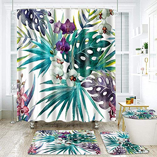 FOURFOOL Shower Curtain Sets with Non-Slip Rugs,Toilet Lid Cover and Bath Mat,Blue Purple Palm Tree Doodle Waterproof Bath Curtains Hooks Included