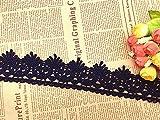 Ajuste de encaje de bordado con Patrón de encaje en 5.5 cm de ancho Cortina, Funda que se puede quitar, Ropa de bricolaje nupcial/Accesorios (4 yardas en un paquete) (azul marino)