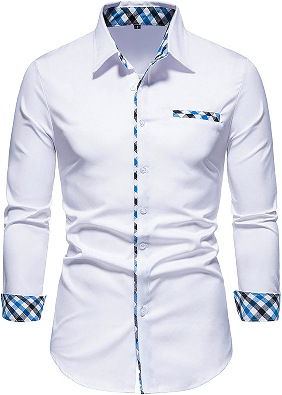 viwoMUMO Men's Long Sales Sleeve Dress Business Popular popular Slim Shirt Fit Casual