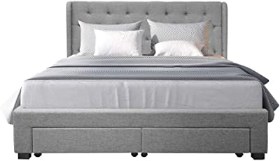 Luxo Upholstered Fabric Winged Bed Frame with Storage Drawers Queen Light Grey
