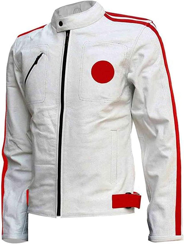 Cafe Racer Jacket - Mens Faux trend rank Nashville-Davidson Mall Red White Leather Strips