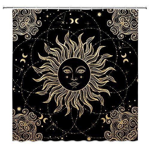 Sonne & Mond Duschvorhang Mandala Celestial Boho Medaillon Floral Psychedelic Mystic Himmlisch Chic Abstrakt Sketch Art Vintage Decor Stoff Badezimmer Vorhang mit Haken