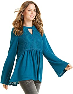 SONJA BETRO Women's Knit Lace Accent Choker Neck Babydoll Tunic Plus Size
