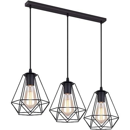 iDEGU 3 Lampes Suspension Vintage, 20cm Lustre Suspension en Métal Abat-jour Luminaire en Forme Dimant de Cage avec Support en Barre, Noir (3 lumières - 50cm)