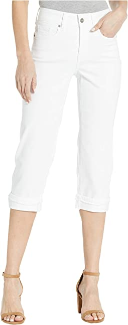 Marilyn Crop Cuff Jeans with Frayed Cuffs in Optic White