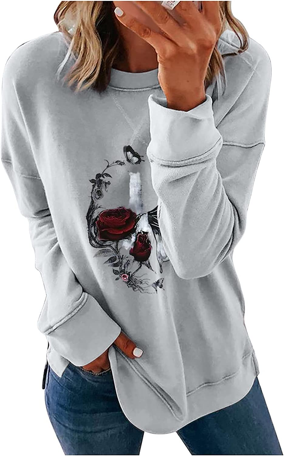 Womens Tops Halloween Costume 5 popular Shirts Cre Import Floral Butterfly Blouse