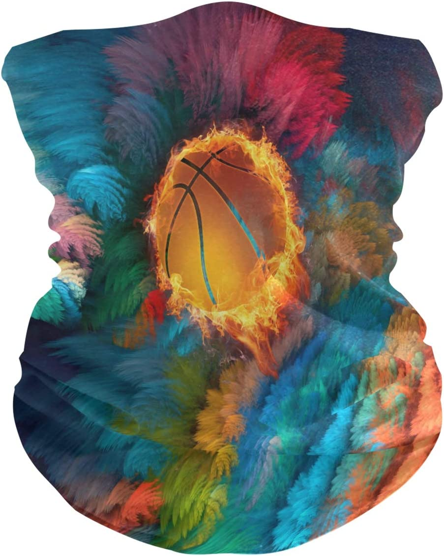 LDIYEU Baloncesto Al Fuego Pañuelo Bandana para la Cara 3D Balaclava Motero Bufanda Ciclismo Bici Máscara Facial Protección UV para Ciclismo Niñas Mujeres Hombres(2PACK)