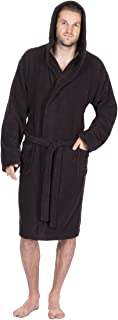 Men's Towelling Bath Robe with Hood - Cotton Terry Cloth Dressing Gown