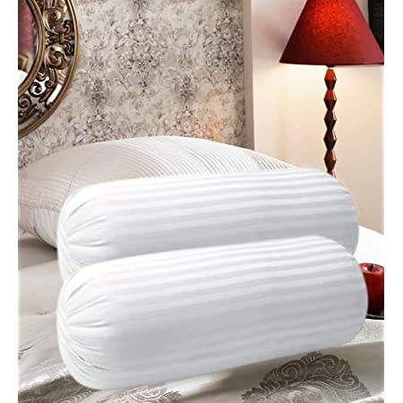 """Oyasumi Polyester Pillow, 22""""X8"""", White, Pack of 2"""