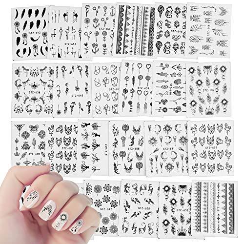 24 Blatt Traumfänger Nail Art Sticker Decals,MWOOT Nagel Wassertransfer Aufkleber Abziehbilder Set mit Blumen Feder Schmetterling Tier für DIY Nagelspitzen Dekoration