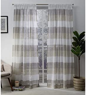 Exclusive Home Curtains Bern Striped Sheer Rod Pocket Panel Pair, 54x84, Natural, 2 Count,EH7952-02 2-84R