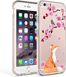 iPhone 6 Case, iPhone 6s Case Clear, Ftonglogy Flower Pattern Printed Design Transparent Plastic Hard Back with Air Cushion Shockproof TPU Bumper Protective Case Cover for Girls (fox cherry blossoms)