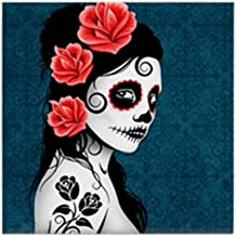 CafePress - Day of The Dead Girl Blue - Tile Coaster, Drink Coaster, Small Trivet