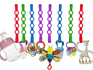 Baby Toy Straps, 8 Pack Stretchable Silicone Pacifier Clips Baby Toddler Toy Bottle Harness Straps for Strollers, Shopping Trolley,Cars,Hanging Baskets,Cribs,Bags