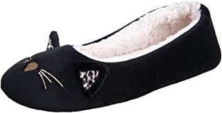 MIXIN Women's Ballerina Ballet House Slippers Cozy Warm Soft Plush Lining Slip-on Flat Rubber Sole Indoor Outdoor Shoes