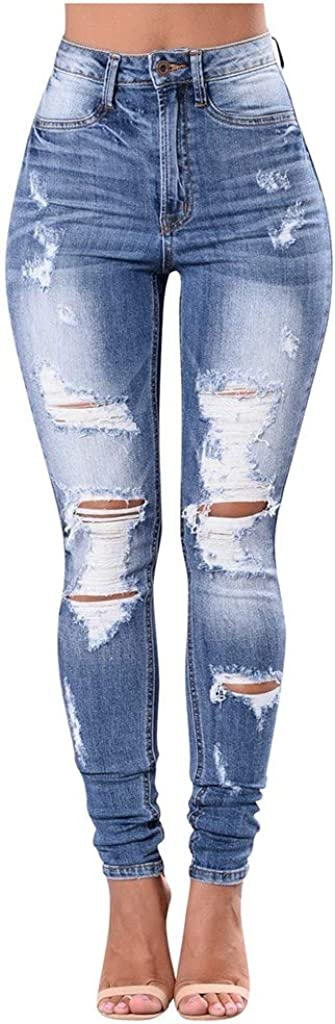 F_Gotal Women's High Waisted Skinny Destroyed Ripped Boyfriend Jeans Hole Denim Pants Stretch Pencil Jeans Jeggings