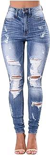 STRIR Vaqueros con Rotos Mujer Skinny Jeans Cintura Alta Jeggings Pantalones de Mezclilla Talle Alto Elasticos Jeans Leggings
