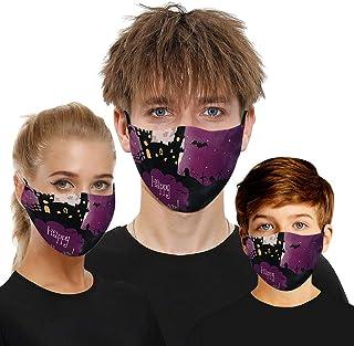 Padaleks 3Pcs Madks Filter Adult Children Washable Face Bandanas Reusable Cloth Halloween Print Masc for Festival Party