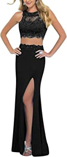 Linabridal Women's Lace Crystal 2 Pieces Long Homecoming Dress Prom Gown