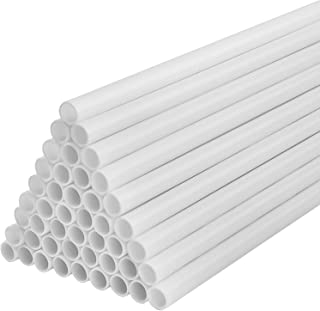 50 Pcs White Cake Dowels,Cake Support Rods,0.4 Inch Diameter Plastic Cake Stand Sticks Cake Round Dowels Straws for Tiered Cake Construction and Stacking Supporting (9.45 Inch Length)