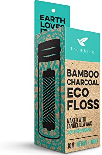Organic Biodegradable Bamboo Charcoal Dental Floss & Refillable Glass Holder | Vegan | Naturally Waxed With Candelilla Wax | 33yd Thread Spool | Eco-Friendly Zero Waste Oral Care | Mint Flavored